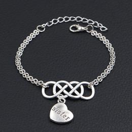 $enCountryForm.capitalKeyWord Australia - 2019 New Punk Silver Color Double Infinity Love Sister Pendant Charm Bracelets Bangles For Women Men Handmade Chain Charm Jewelry Party Gift