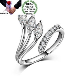 gold leaves Australia - OMHXZJ Wholesale Personality Fashion OL Woman Girl Party Wedding Gift White Luxury Leaves Zircon 18KT White Gold Ring RN65