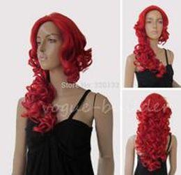 $enCountryForm.capitalKeyWord Australia - Elegant Red No Bangs Spiral Wavy Cosplay Party Hair Wig Hair wigs Free Shipping