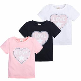 Girl Red Love Shirt Australia - 2019 New Summer Baby Girls Sequined T-shirts Fashion Star LOVE Letters Sequin Cotton Short Sleeve T-shirts Children Tops Clothing