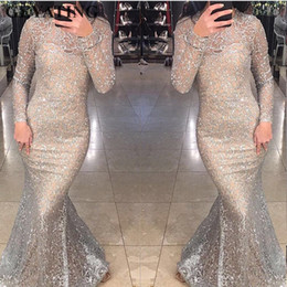 gold maxi dresses NZ - Shiny Silver Sequins Dubai Mermaid Evening Dress Long Sleeves Arabic Formal Prom Dresses 2019 Gold Bodycon Maxi Dress Party Gown