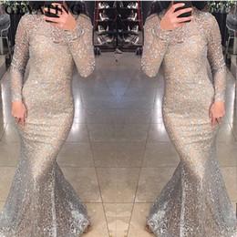 Gold Lace Peplum Dress Australia - Shiny Silver Sequins Dubai Mermaid Evening Dress Long Sleeves Arabic Formal Prom Dresses 2019 Gold Bodycon Maxi Dress Party Gown