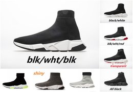triple zipper bag Australia - 2020 Designer Shoes Speed Trainer Oreo Triple Black Green Flat Luxury Fashion Socks Boot Designer Men Women Sneakers With Box Dust Bag