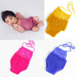 new born accessories 2019 - Baby photography new born bodysuits newborn photo props baby fotografia accessories candy color mohair baby bodies toddl