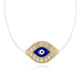 evil eye necklace turkey Australia - Ethnic Turkey Evil Eye Chock Necklace Gold Color Transparent Invisible Chain Necklace For Women Girls Neckless Jewelry Collier