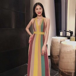 europe suits Australia - 2019 Europe and the United States spring and summer new hanging neck V-neck striped leaky back MAXI long fashion el Dress + suit