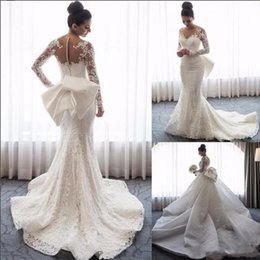 Red dRess detachable tRain online shopping - Luxury Detachable Train Wedding Dresses Mermaid Long Sleeves Hollow Back lace Applique Sequins Bows Wedding Bridal Gowns Plus size