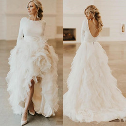 Gown short hand lonG online shopping - 2020 Soft Tulle Ruffles Long Sweep A Line Wedding Dresses Sexy Open Back Long Sleeves Wedding Gowns