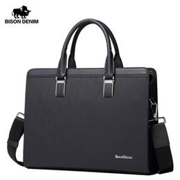 Hard Laptops Australia - Bison Denim Genuine Leather Handbag Men Business Messenger Bag 14'' Laptop Tablet Leather Shoulder Bag Crossbody Male Bags N2317 Y19051802