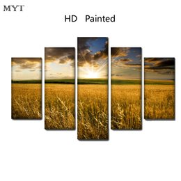 scenery spray painting Australia - Beautiful Yellow Wheat field scenery HD spray Printed Oil Painting on canvas home decor for Living Room Wall art picture on Canvas no framed