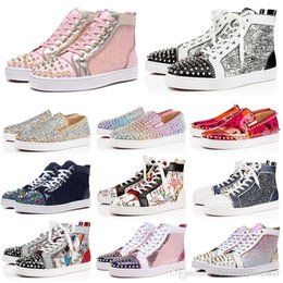Tanned bags online shopping - 2019 New Designer Red Bottoms Casual Shoes Slip on Roller Boat Mens Women Suede Spike Crystal Leather Sport Sneakers BOX DUST BAG