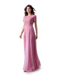 3471447717 2018 Dusty Pink A-line Lace Chiffon Long Modest Prom Dress With Cap Sleeves  New Arrival Floor Length Modest Bridesmaid Dress For Wed Party