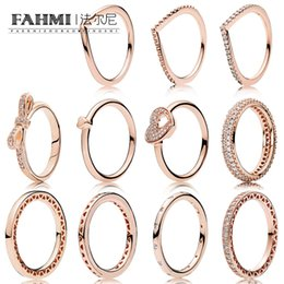Puzzle Rose NZ - FAHMI 100% 925 Sterling Silver 1:1 Charm Rose Gold Series Shiny Heart Droplets Rings Bow Puzzle Jigsaw Heart Ring Women Jewelry 2019