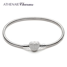 Silver Celtic Bracelets Australia - Athenaie 925 Sterling Silver Snake Chain With Pave Clear Cz Heart Clasp Bracelet Fit All European Charm Beads Christmas Jewelry C19042001