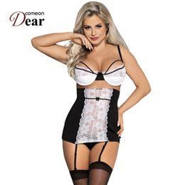 exotic hot dress Australia - Comeondear Intimo Donna Sexy Hot Porno Rk80427 Bra + Dress + Panty Lenceria Sexi Para Mujer White Plus Size Exotic Lingerie Y19070302
