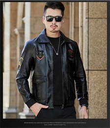 NyloN pu coatiNg online shopping - 2019 Hot Sale Mens PU Leather Jacket Short Slim Leisure Male Outwear Coat Flight suit High Quality Casual Motorcycle Jacket Europe S XL
