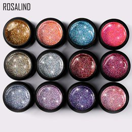 PurPle nail art designs online shopping - ROSALIND ml Shiny Rainbow Gel Nail Polish Bright For Glitter Painting Nail Art Design Poly UV Top Base Primer For Manicure