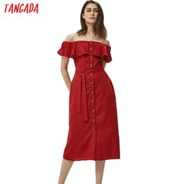 $enCountryForm.capitalKeyWord Australia - Tangada Women Cotton Linen Strapless Trending Styles Fashion Summer Sexy Beach Dress With Belt Short Sleeve Slash Neck 3h5 J190714