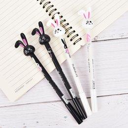 Korean School Stationery Australia - Ball Pen with 0.38mm Black Ink Rabbit Pen Writing School Supply Stationery 4Pcs Korean Cute Kawaii Retractable Gel Roller