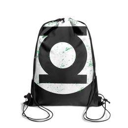 Diamond Cartoons UK - Drawstring Sports Backpack Green Lantern logo Retro whiteoutdoor durable cinch Pull String Backpack