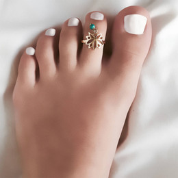 gold toe ring wholesale NZ - Vintage Lotus Bead Pendant Toe Rings Simple Gold Plated Glossy Open Adjustable Alloy Foot Rings For Women Fashion Summer Jewelry Wholesale