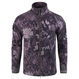 Softshell Camouflage Jacket Australia - ESDY Outdoor Softshell Jacket Sports Camouflage Suit plus velvet overalls Fleece Hiking Camping Army Fans Wholesale