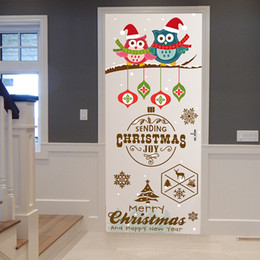 Diy Art For Baby Room Australia - New 3D Cartoon Christmas Tree Owl DIY Door Art Mural Wall Stickers For Kids Baby Rooms Christmas Decoration PVC Festival Poster