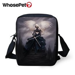 Body painting nudes online shopping - WHOSEPET Dark Gothic Angel Painting Cross Body Messenger Bags Boys Shoulder Bag Cool Girls School Bags for Children Mini Postbag