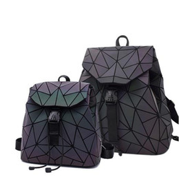 japanese leather bags Australia - Luminous leather Backpack Geometric Shoulder Bag Folding Student Schoolbag For Teenage Girl Japanese Korean Style Holographic laptop BagPack