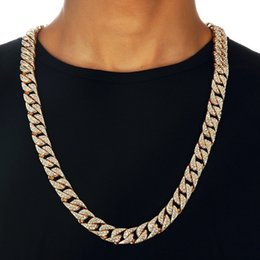 $enCountryForm.capitalKeyWord NZ - Miami Curb Cuban Chain For Men Gold Silver Hip Hop Iced Out Paved Rhinestones Cz Rapper Necklace Jewelry C19041101