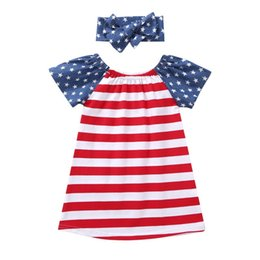 Chinese Wholesale Red Dresses Australia - INS Designer Baby Girls Dresses with Hairbands 2pieces Sets 4th of July Blue Red Stripes Kids Girls Dresses Polka Dot Stylish Outfit