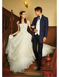 $enCountryForm.capitalKeyWord Canada - noble ball gown wedding dresses backless multilayer V-neck sleeveless beautiful Printed ball gown sleeveless trim robes de bal robes de bal