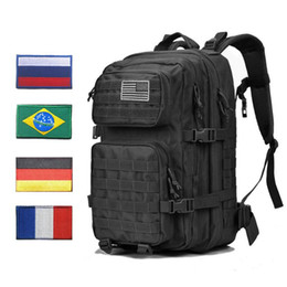 Discount fashion tactical backpacks Outdoor Backpacks Tactical Backpack Rucksack Bag Mens Women 45L Army Bagpack Sports 3P Flag Waterproof Molle Bags Packs