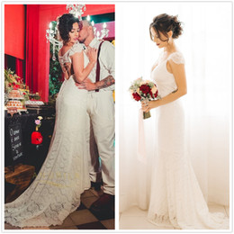 Lace Country Style Wedding Dresses Australia - Sexy Lace Wedding Dresses 2019 Country Style Count Train Deep V Neck Backless Wedding Dress Hoho Cheap Handmade Mermaid Bridal Gowns
