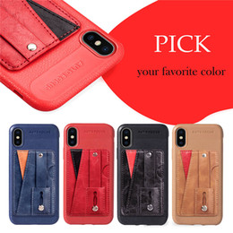 Wallet Apple Australia - Leather Case With Kickstand,Stick on Wallet Card Holder Phone Stand Holder For Apple iPhone 6 7 8 6S X Plus XR XS Max