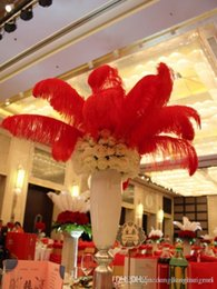ostrich feathers centerpiece red NZ - DLM2020 Wholesale 14-16inch(35-40cm) Red ostrich feathers plumes for Wedding centerpiece wedding Decor party supply z134C