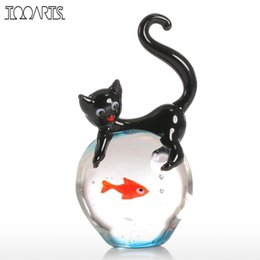 Wholesale Tooarts Modern Cat And Goldfish Figurine Gift Glass Home Decor Animal Mini Statuettes Multicolor Home Decoration Accessories Y19062704