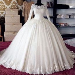 Gold White Puffy Wedding Dress NZ - White Tulle Long Sleeves Wedding Ball Gown Puffy Princess Bride Maxi Dresses within Petticoat Custom Made High Quality Bridal Ball Dress