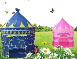 prince cartoons NZ - 48PCS Kids Play Tents Teepee Prince and Princess Palaces Castle Baby Toy House Tent Game House