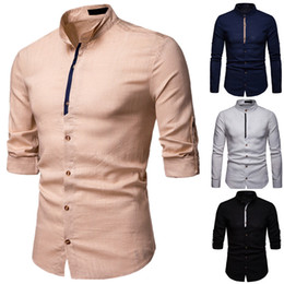 designer black shirts for men Australia - Long Sleeve T Shirts Bussiness Casual Shirts Linen Mens Clothes 2019 New Fashion Shirts For Men Designer High Quality Polos Shirt Black
