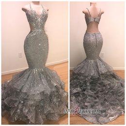 Deep v grey Dress online shopping - Glamorous Beads Dark Grey Sequins Evening Dresses Long Halter Neck Mermaid Ruffles Backless Evening Gowns Customize