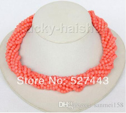 "pink coral beaded necklace NZ - Prett Lovely Women's Wedding Wholesale free shipping 18"" 10row round pink coral beads necklace Imitation pink coral clasp"