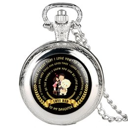 Necklaces Pendants Australia - 'To My Daughter ' Quartz Pocket Watch Necklace Pendant Women Watches Gifts from Dad Black Silver Gold Bronze Color Clock 2019