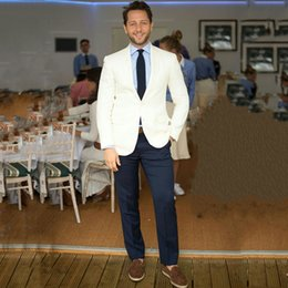 latest suits for men Canada - Latest Designs Ivory Wedding Suits for Man Blazer Groom Wear Tuxedo 2Piece Blue Pants Terno Masculino Slim Fit Costume Homme Everning Party