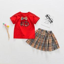 Skirt pantS baby girl online shopping - children s clothing new summer baby boys girls short sleeved t shirt lattice shorts skirt kids set tops pant Clothing Sets
