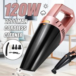 Car 12v Usb Australia - 120W 12V Mini Portable Wireless Handheld Car Vacuum Cleaner USB Rechargeable Wet Dry Dust Collector Aspirateur Voiture