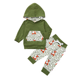 acbd5043b Long Sleeve Baby Girl Clothes Baby Boy Carter Newborn Clothes Hooded Girl  Boy Pocket Leaves Tops Sweatshirt+Pants Set