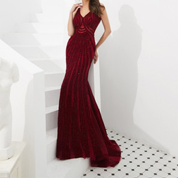 $enCountryForm.capitalKeyWord UK - Exquisite Wine Red Sexy Evening Dress Overall Beading Melania Trump Evening Gown Open Back Ankara Evening Dress robe du soir Party Dresses
