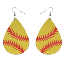 Baseball Basketball Leather Earrings Sports Rugby Volleybal Teardrop Dangle Hook Girl Unique Jewelry For Women Gift