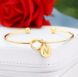 silver jewelry dropship NZ - 26 A-Z English Letter Initial Bracelet Silver Gold Letter Charm Bracelet Love Bowknot Wristband Cuffs Women Jewelry Will and Sandy Dropship
